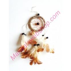 Mini Attrape Rêves (Dreamcatcher) 6 CM - Finition Marron Naturel