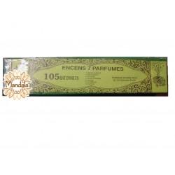 Lot Encens Indien 105 bâtonnets - 7 Parfums différents