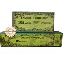 Lot Encens Indien 105 bâtonnets + 105 Cônes - 7 Parfums