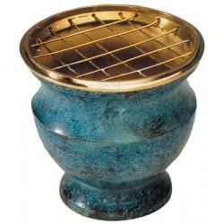 Brûle Encens & Charbons - Bleu avec Grille (Burner Incense & Charcoal)