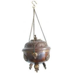 Encensoir Cuivre - Brûle Encens à Suspendre  Motifs Incrustés