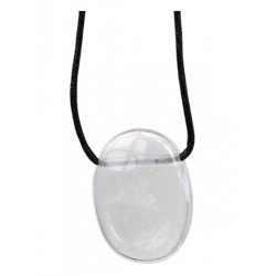 Pendentif Pierre Ovale Percée - Cristal de Roche