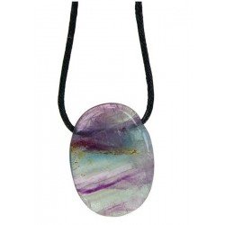 Pendentif pierre ovale percée - Fluorite