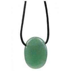 Pendentif pierre ovale percée - Aventurine Verte
