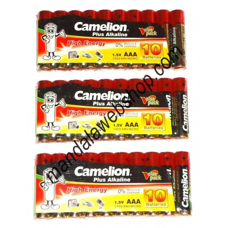 10 piles Alcalines Plus AAA LR03 CAMELION