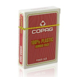 Cartes POKER COPAG 100% Plastique JUMBO Index Rouge