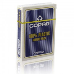 Cartes POKER COPAG 100% Plastique JUMBO Index Bleu