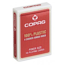Cartes POKER COPAG 100% Plastique JUMBO Index 4  Rouge