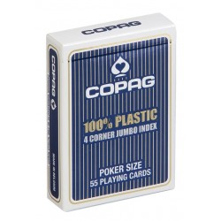 Cartes POKER COPAG 100% Plastique JUMBO Index 4  Bleu