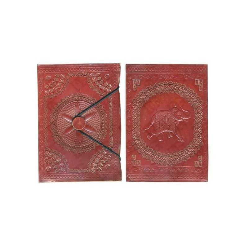 Carnet CUIR - Papier Parchemin - 10 x 15 cm Motif Eléphant