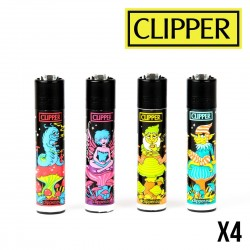 Briquet CLIPPER BLACK SHROOMS Lot de 4