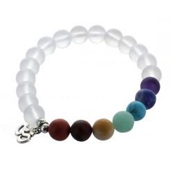 Bracelet 7 Chakras Perles Mates 8 mm (Avec médaille Om)