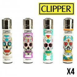 Briquet CLIPPER MEXICAN SKULLS  Lot de 4