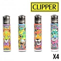 Briquet CLIPPER LYNX  Lot de 4