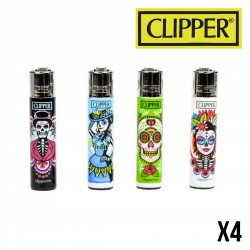 Briquet CLIPPER DIA DE MUERTOS  Lot de 4