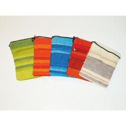 Pochette Passeport Rayée - Sac Bandoulière Coton - Coloris Au Choix