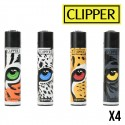 Briquet CLIPPER CAVALERAS LEAF EYES  Lot de 4