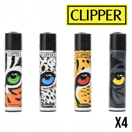 Briquet CLIPPER FELINE EYES  Lot de 4