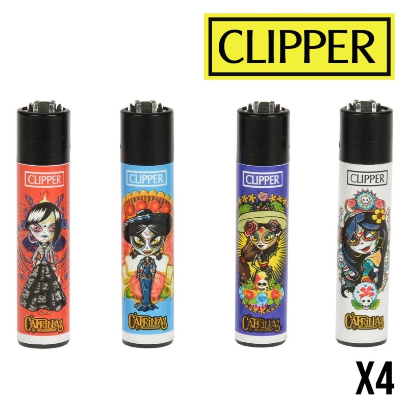 Briquet CLIPPER CATRINAS MAYA Lot de 4