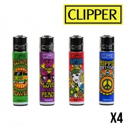 Briquet CLIPPER HIPPIE x4
