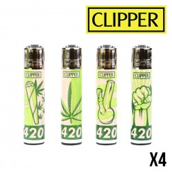 Briquet CLIPPER GREEN 420 x4